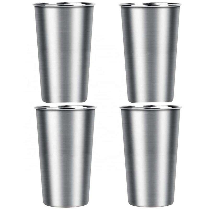 Custom 500ml Drinking Tumbler 304 Single Wall Stainless Steel Pint Cups