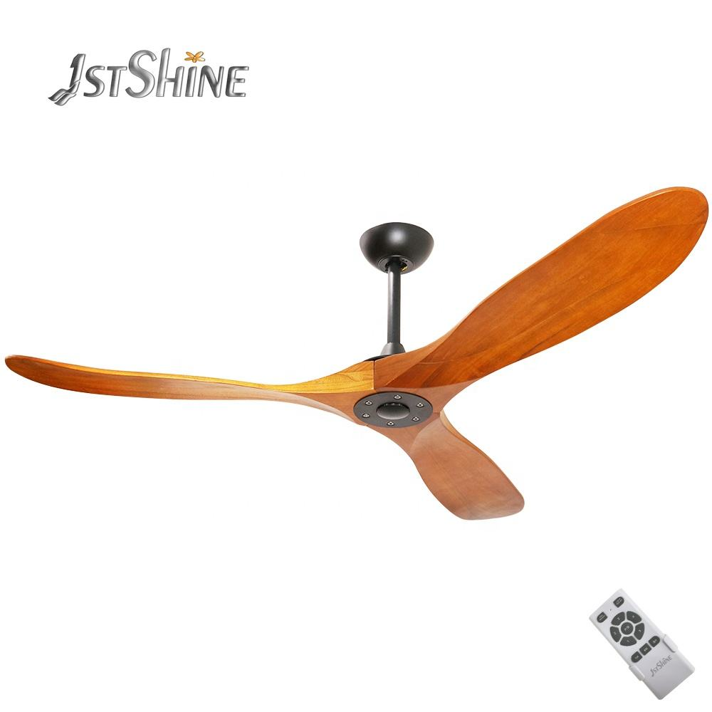 1stshine 56 inch 3 luxury Natural solid wood blades outdoor ceiling decorative mountain air bldc ceiling fans