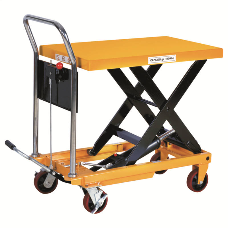 china cheap 300kg 1000kg 2000kg mini hydraulic cylinder scissor pallet table lifting with wheel