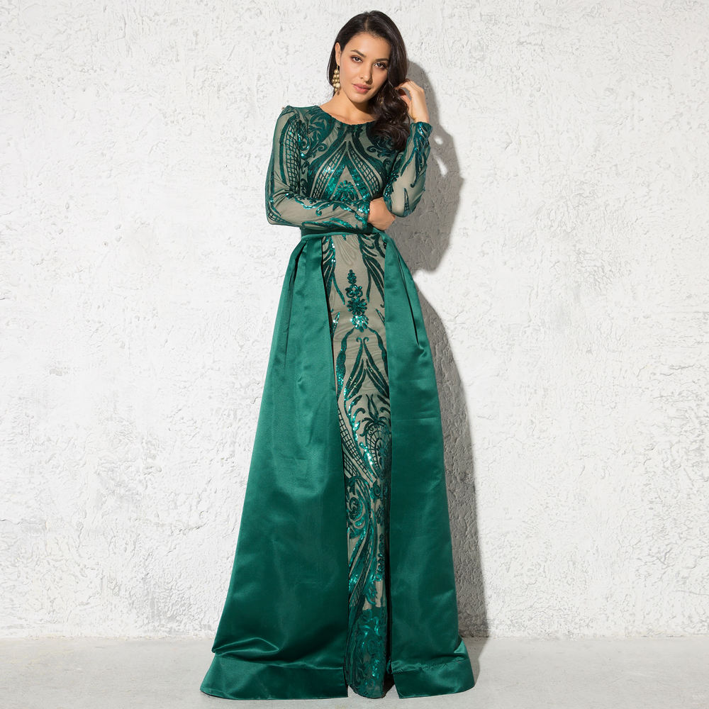 Green O Neck Full Lining Party Long Sleeve Stretch Sequins Muslim Evening Dress with Detachable Train