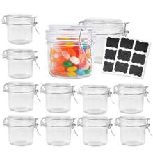 8 oz Airtight Glass Jars with Rubber Gasket Lid, Small Storage Glass Canister with Hinged Lid for Kitchen