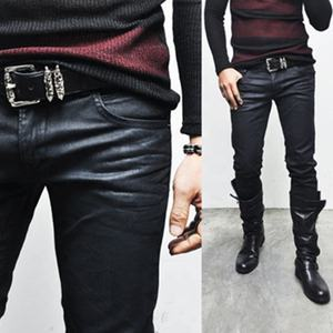 Avant-grade Hardcore Vintage Wax Coated Mens Red Slim Biker Jeans