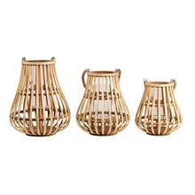 Rattan weaving storm lantern Bamboo Candle Holder With Hemp Rope Handle Outdoor And Indoor Both Use Wooden Lantern for Home deco