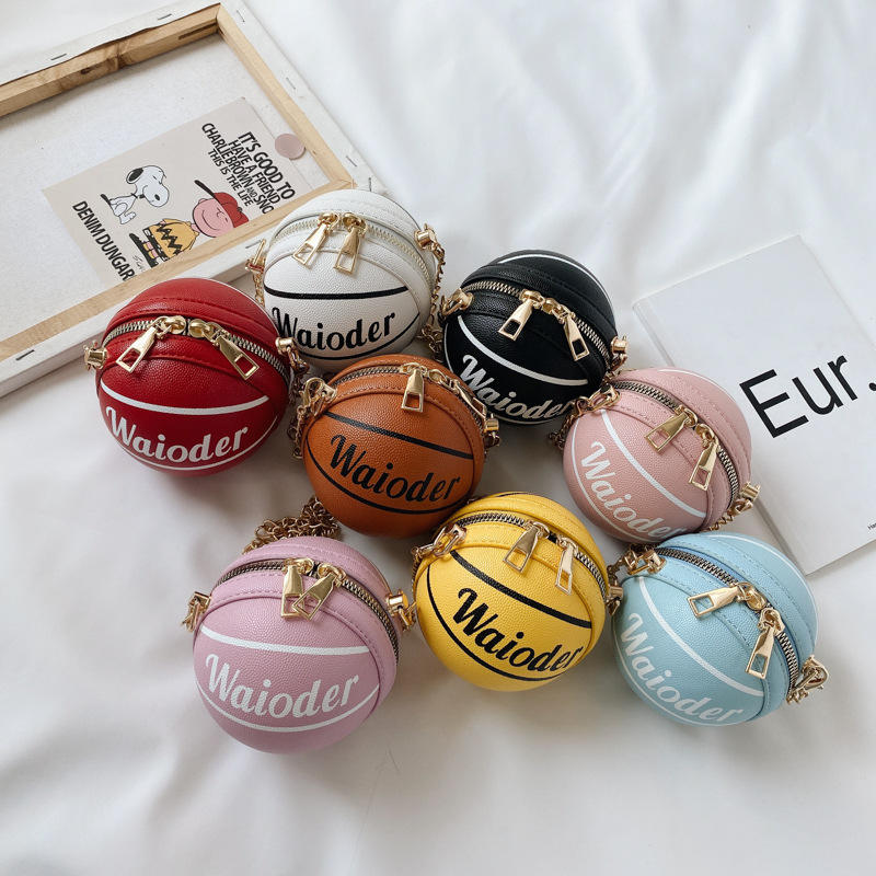 Unique cute children basketball ball shape kids purse fashionable mini handbags
