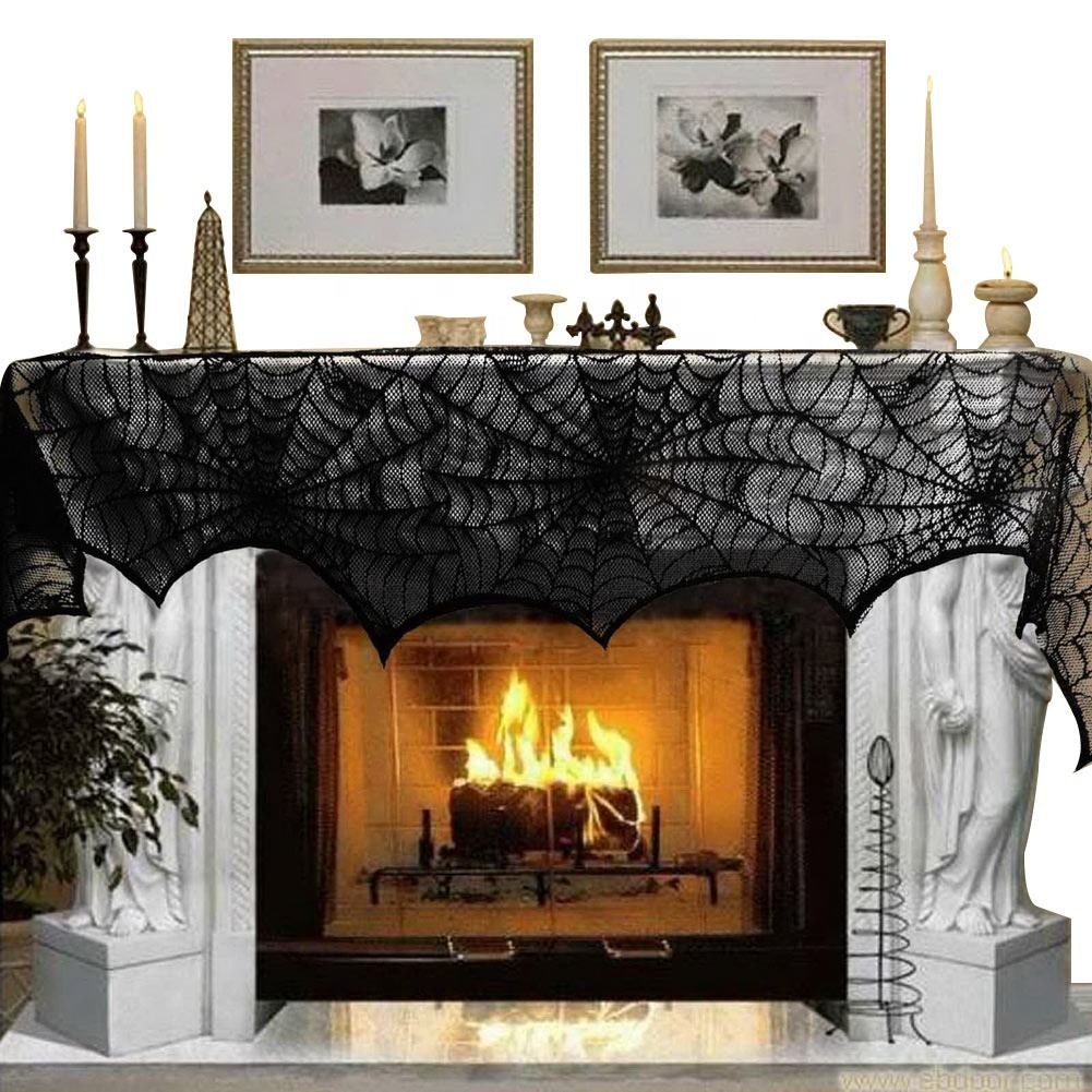 100% Polyester [ Halloween Birthday ] Halloween Trick Or Treat Halloween Party Home Birthday Dinner Cobweb Fireplace Black Spider Web Mantle Scarf Table Decoration