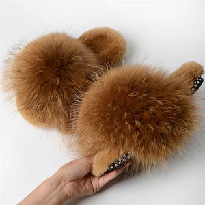 2020 New Real Fox/Raccoon Fur Slippers Women Fashion Style Slides Summer outdoor Flip Flops Flat Fur Sandals