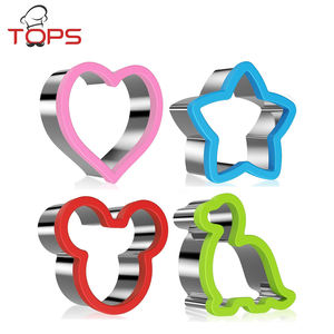 Cookie Tool Type 4 pcs Set Christmas Flower Star Heart Silicone Cookie Cutter/ Cute Silicone edged Stainless Steel Cookie Cutter