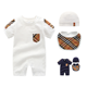 100% cotton baby wear clothes set 3 pcs summer clothes hat bib and creeper grow bodysuit for 0-24M