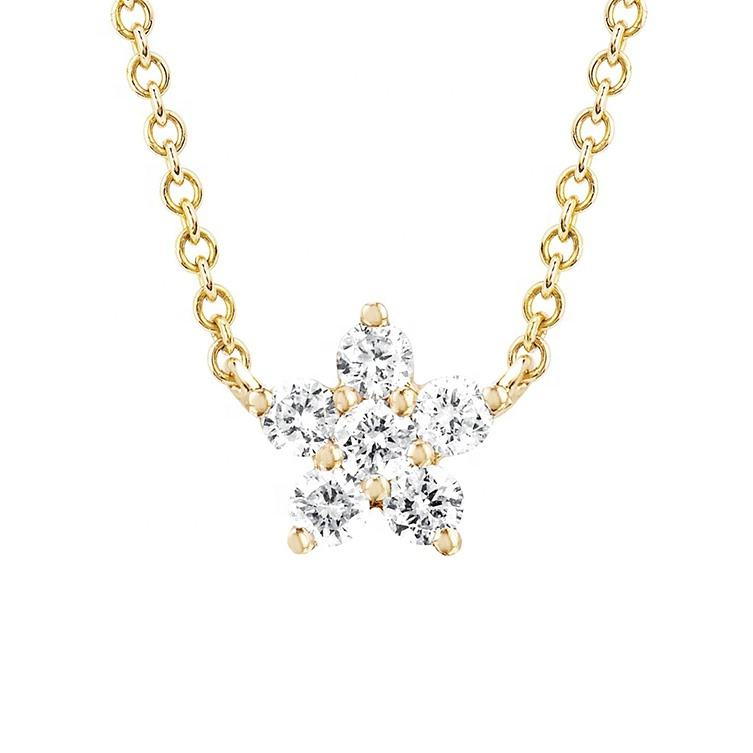 925 sterling silver gold plated claw set diamond CZ star pendant necklace
