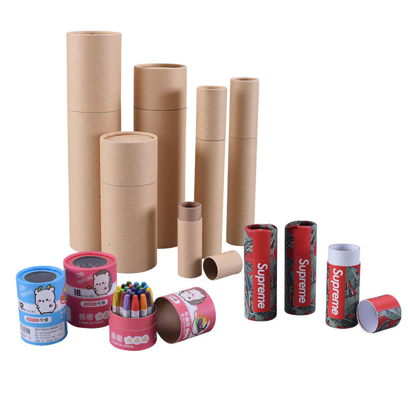 Box Paper Cans Manufacturers Printed Custom Recycled Poster Container Can Cylinder Packaging Box Kraft Paper Tubes Packaging
