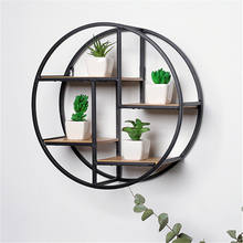 Retro creative iron rack living room wall hanging home decor wood wall shelf