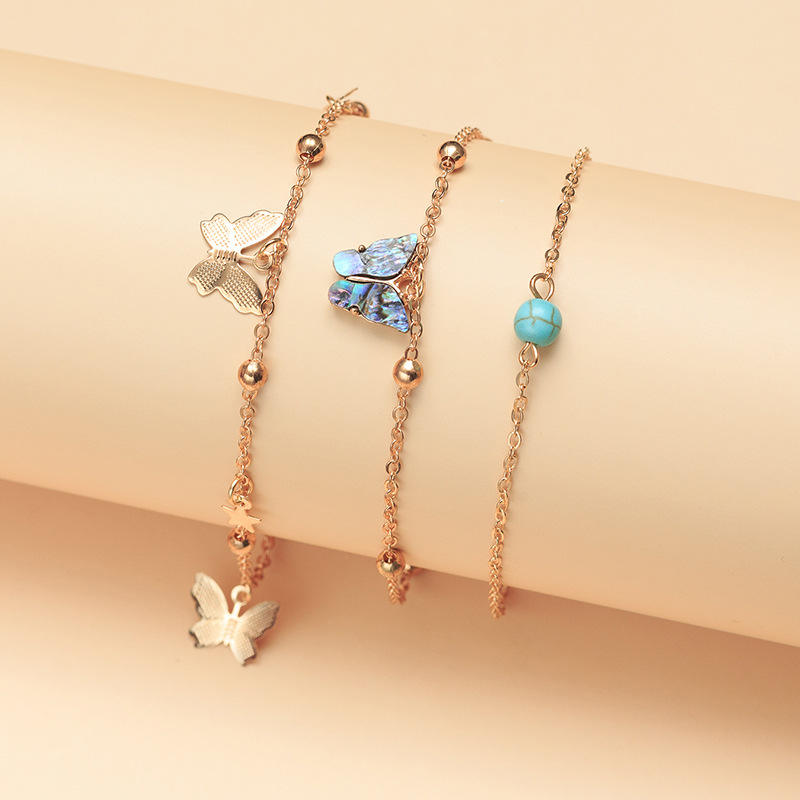 3pcs Bohemian Abalone Shell Color Butterfly Foot Chain Anklet Set Colorful Acrylic Butterfly Charm Anklet
