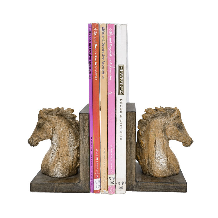 Resin wood yellow horse head, resin simulation wood horse head bookend, custom resin creative bookend