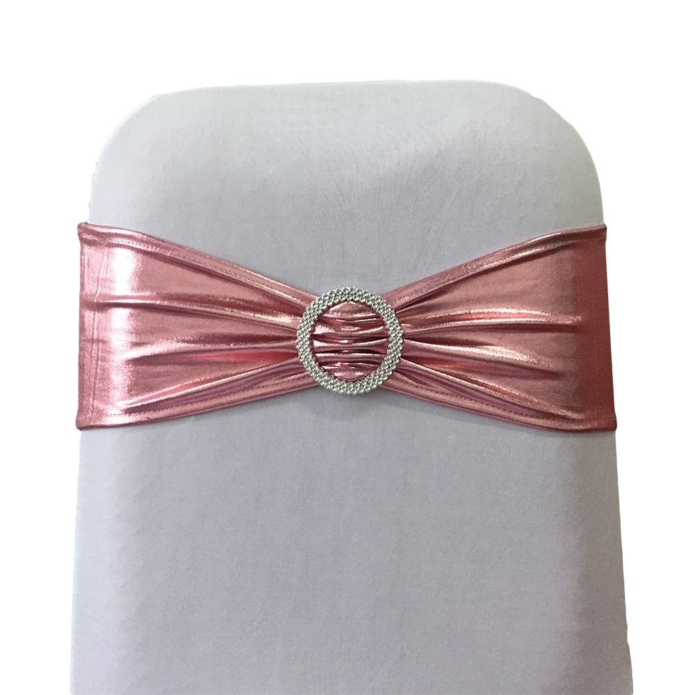 Rose gold Shiny spandex chair sash for wedding