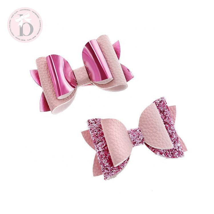 Hot Sale New Glitter Pink Kids Hair Bow Clip For Girls