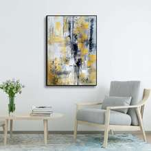 Modern Home Decor 100% Hand Painted Abstract Canvas Wall Art Yellow and Gray Oil Painting for Hotel and living room