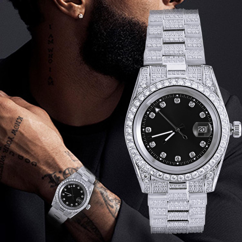 High Quality Fashion Gold Plated Wrist Luxury Mens Diamond Iced Out Custom Logo Quartz Watch For Men