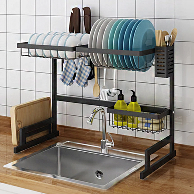 2020 new design hot popular stainless steel black coating kitchen organizer set bowl knife dish drying rack