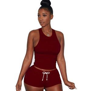 Blank Yoga Tank Top Women 2 piece Short Casual Sportswear Yoga Sports Set