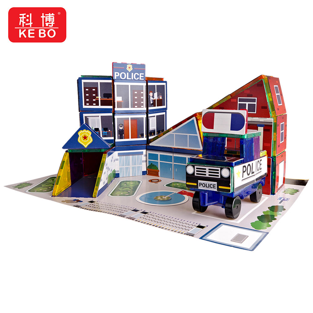 142 PCS My City Police office Magnetic Tiles Magnet Toy STEM Magnetic Construction Building Block Educational Toys Set