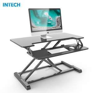 Height Adjustable Desk Converter, Gas Spring Riser with Removable Keyboard Tray, Sit to Stand Workstation Laptop Stand Desk