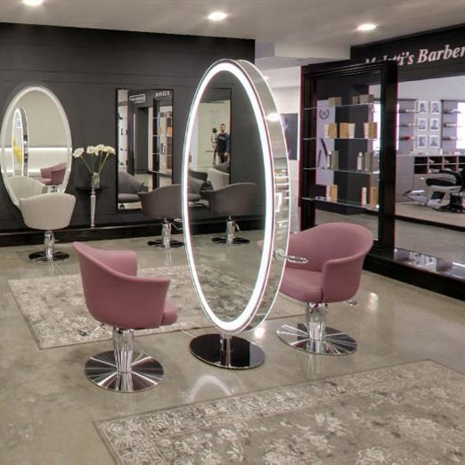 LED light mirror station double sided mirror styling station for barber salon