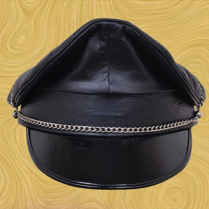 Gay Leather Army Cap,Leather Muir Cap with trim,Biker Cap,Peaked Cap,Police Hat
