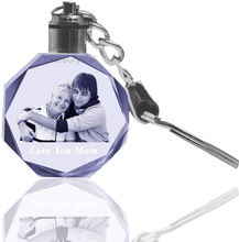 Custom 3D Laser Engraved photo Crystal keychain with led light keyrings