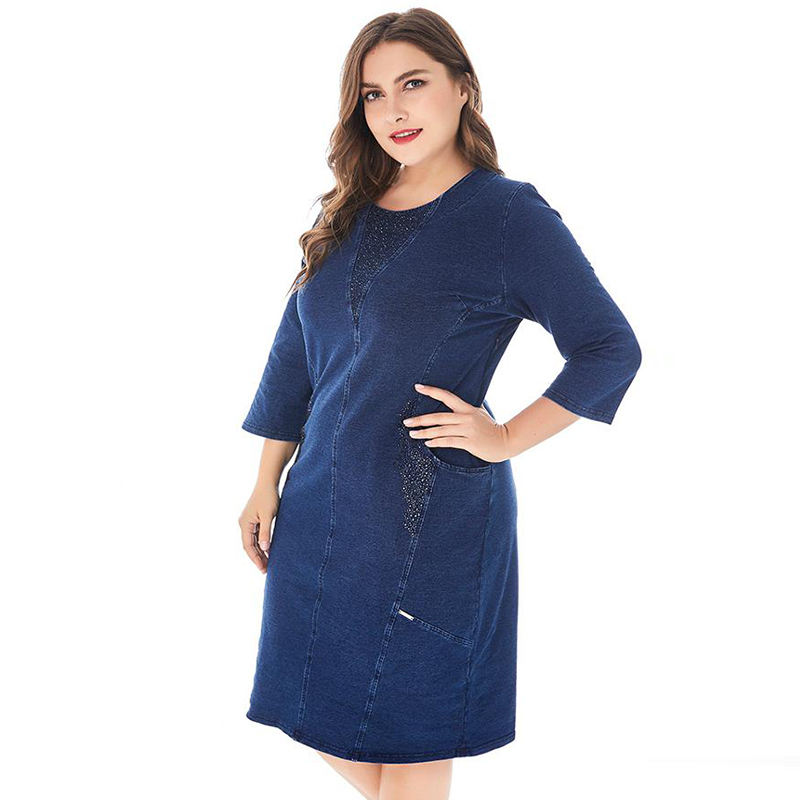 Hot Selling Plus Size Jeans Dresses Women Casual Midi Dress Summer 2020