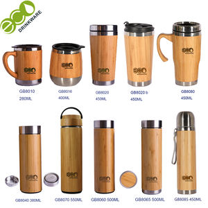 GB8060 500ML/17OZ Natural Stainless Steel bamboo water bottle Vacuum Insulated infuser bamboo thermos Wholesale
