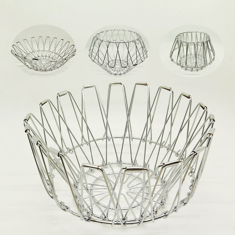 YIWANG Factory Wholesale Metal Folding Fruit Basket For Home