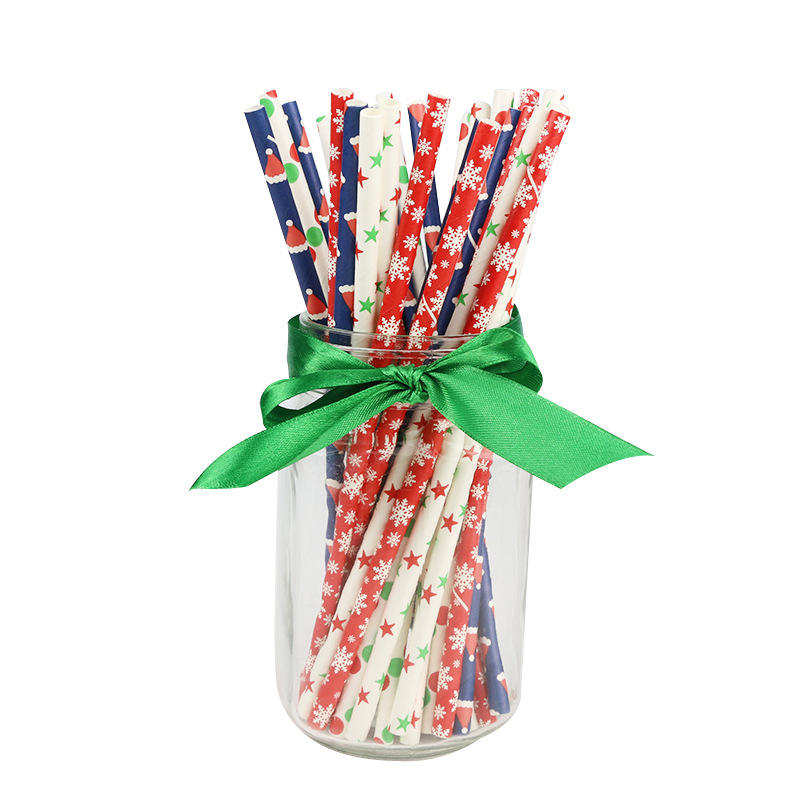 Christmas snowflake stars custom colorful wholesale drinking long paper straw