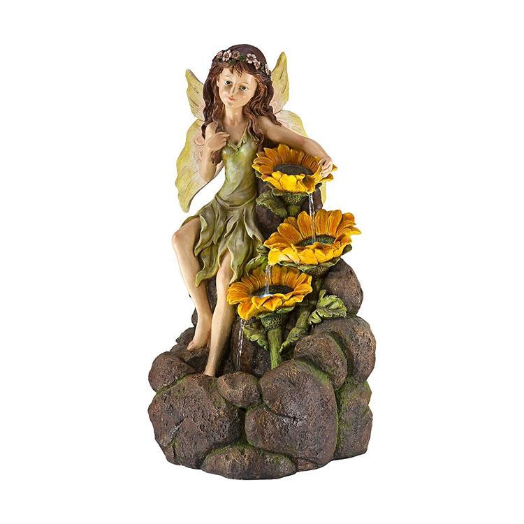 De gran tamaño al aire libre de la resina con girasoles hecho a mano escultura de fuente de agua de jardín con la señora estatua luces Led