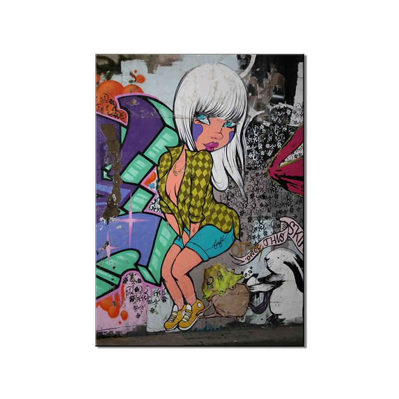 Graffiti Colorful White Hair Trend Cool Girl And Monroe Pose Abstract Oil Painting And Wall Home Decoration Painting