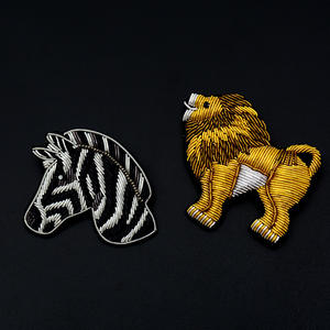 GUGUTREE Indiano di seta leone Zebra di patch del fumetto patch badge applique patch per abbigliamento SK-132