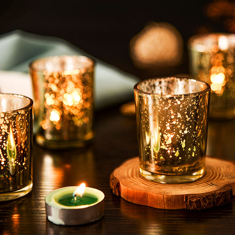 Wholesales Votive Glass Gold Candle Holder With Mercury Finish