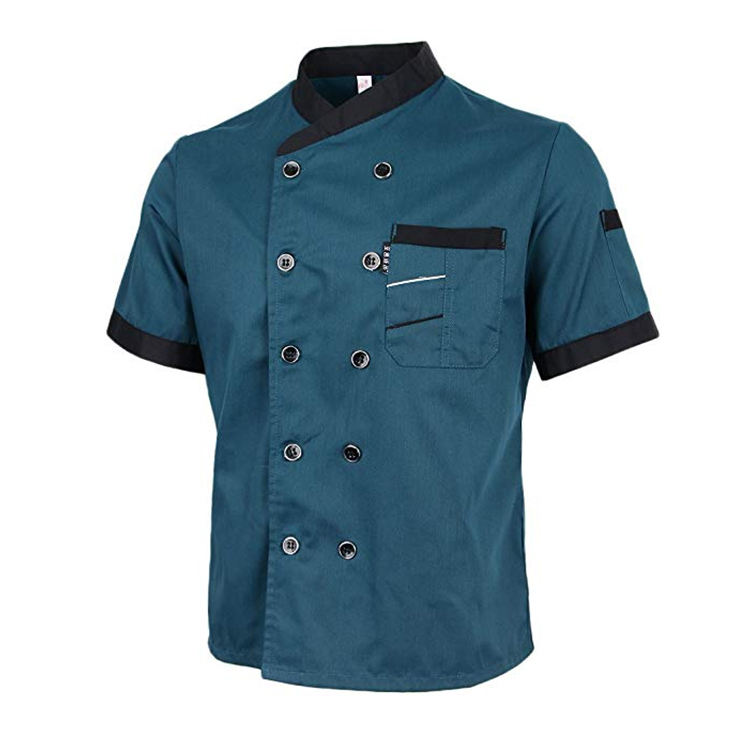 Hot Selling Franse Mode <span class=keywords><strong>Chef</strong></span> Uniform Unisex Korte Mouwen <span class=keywords><strong>Chef</strong></span> Katoen Stof Jas Fast Food Restaurant Uniform Voor Mannen
