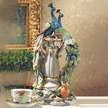Customized hand painted in paradise home decor figurine resin peacock statue