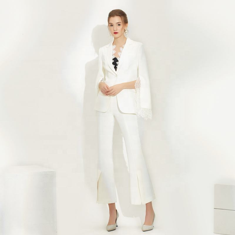 Latest Design Ladies White Tuxedo Suits Lace Cape Women Blazer Pants two-piece Suit
