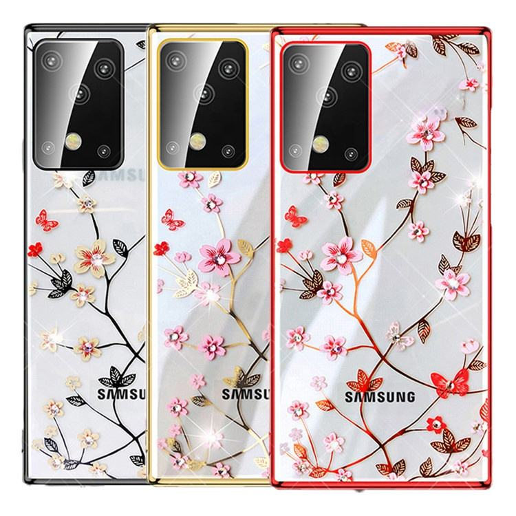 Free Shipping For Samsung Galaxy S20 Plus Case Luxury Flower Diamond Electroplated Hard PC Cover Case For Samsung S20 Ultra
