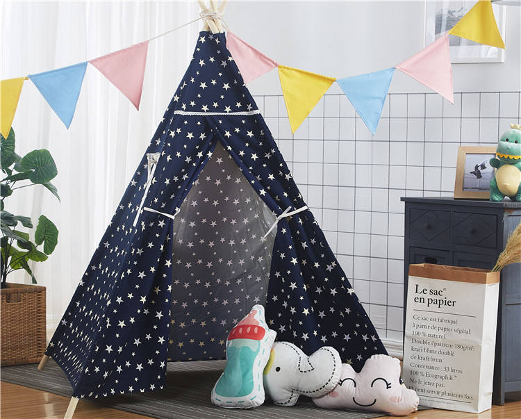 100% Cotton Imported Wooden Stick Baby Play Toy Tent House Glamping House Tent