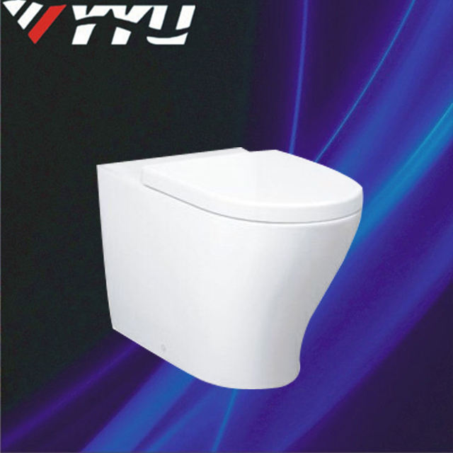 YYU Brand new bathroom wholesale ceramic washdown p-trap water saving back to wall toilet with toilet seat for UK market YA007