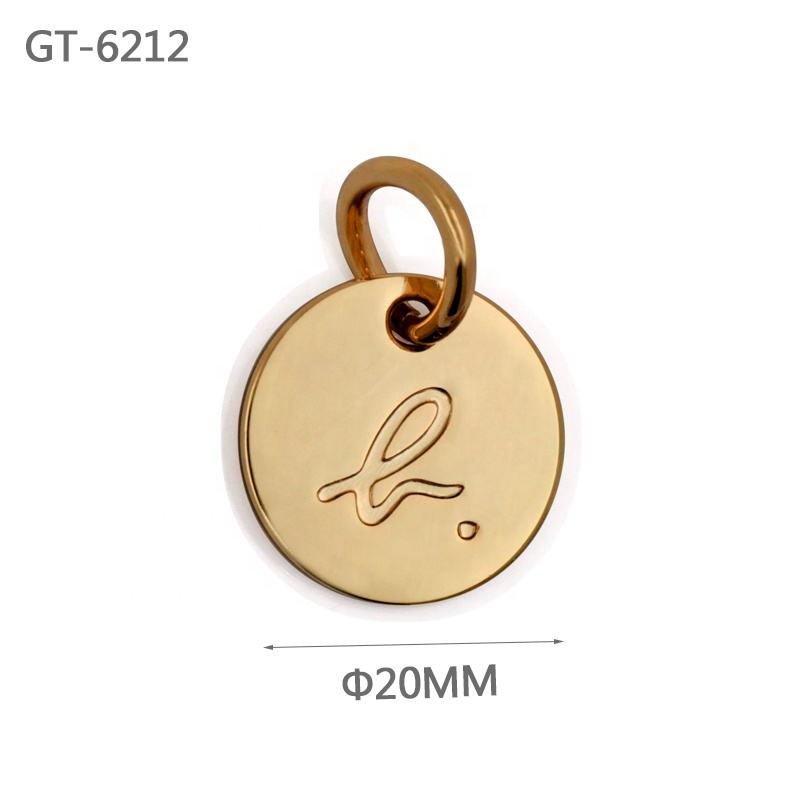 Fashion Gold custom sewing tags for swimwear Zinc alloy metal engraved logo tags for garments