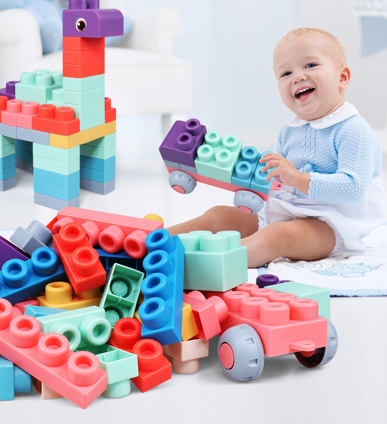Teether Beats baby blocks Soft Rubber Building Blocks Toddlers Learning Educational Toy