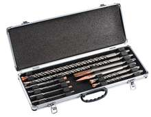 SDS Plus Drill bits and chisels set in an aluminium casing