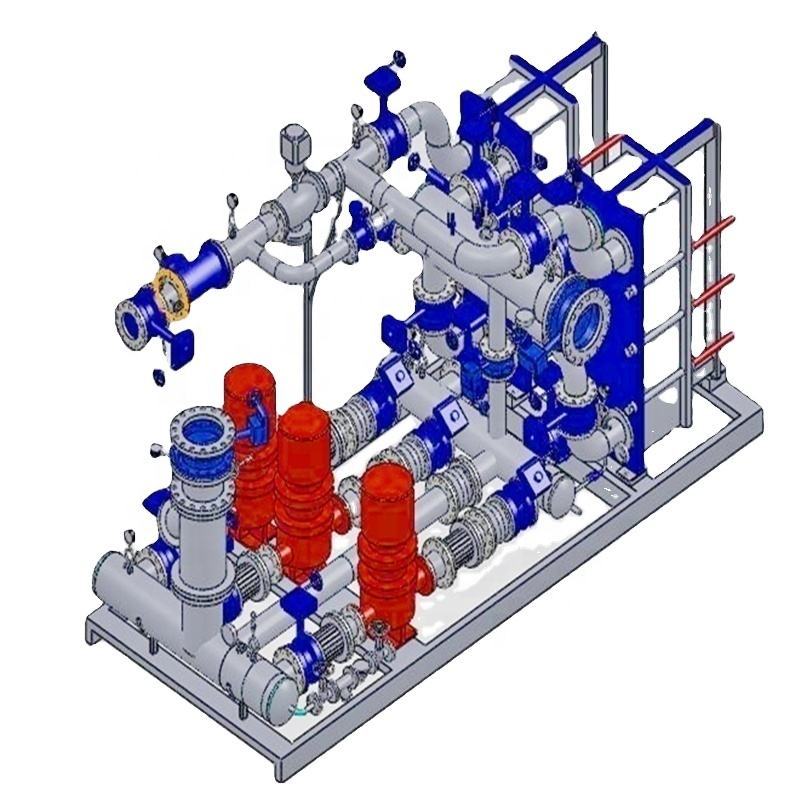 district heating /cooling plate heat exchanger unit for exhausted steam and waste heat recovery
