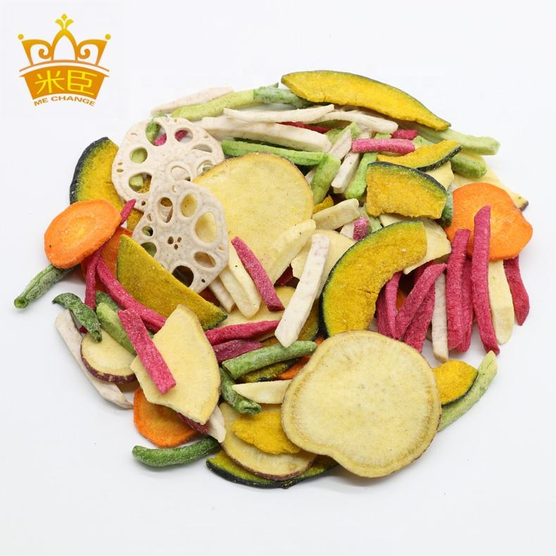 Vacuum fried mixed vegetable chips as healthy snacks