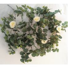 QSLH-E683 Artificial Silk Rose Flower Eucalyptus Garland for Wedding Decoration