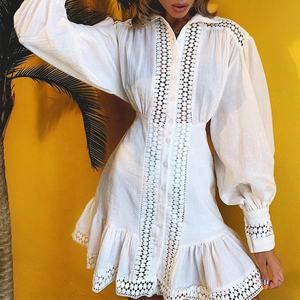 PresWholesale holiday beach wear knee length long sleeve embroidery water-soluble lace patchwork plain white cotton dress women