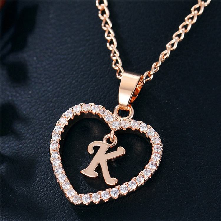 Fashion Custom Heart Initial Rhinestones Letter Name Choker Necklace For Women Pendant Jewelry
